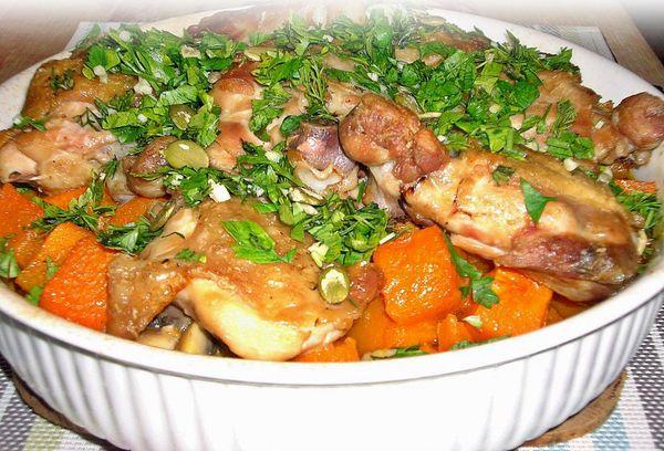 Рагу из куриного филе с тыквой