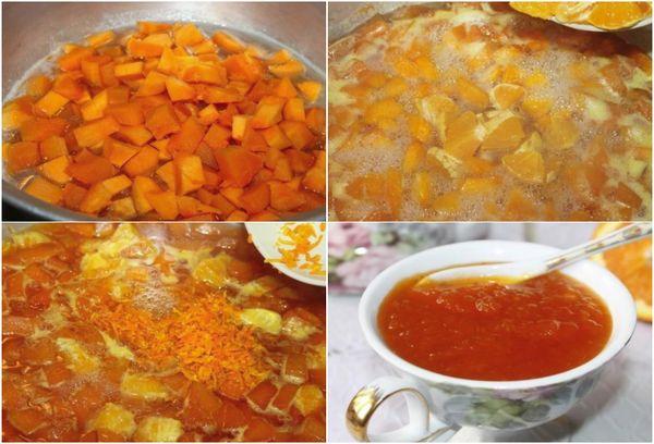 Приготовление джема из тыквы и апельсина